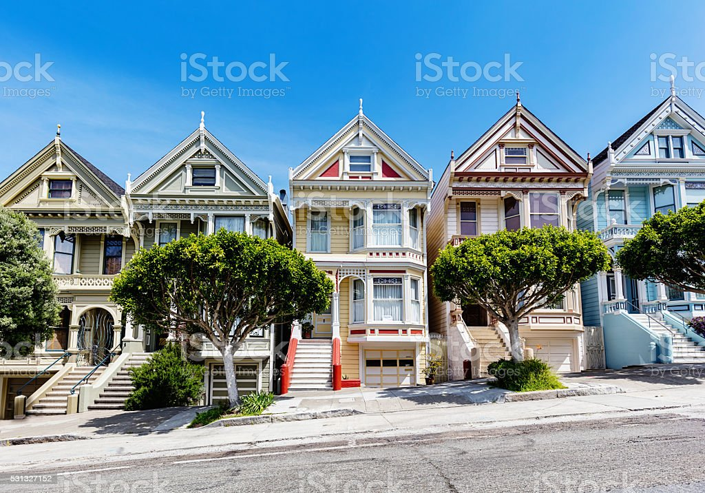 Painted Ladies at Alamo Square in San Francisco California USA stock photo