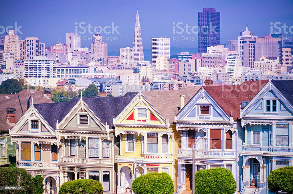Painted Ladies Houses near Alamo Square in San Francisco stock photo