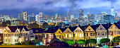 Famous painted ladies houses in San Francisco on a foggy day