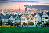 San Francisco cityscape with the Painted Ladies as seen from Alamo square park.