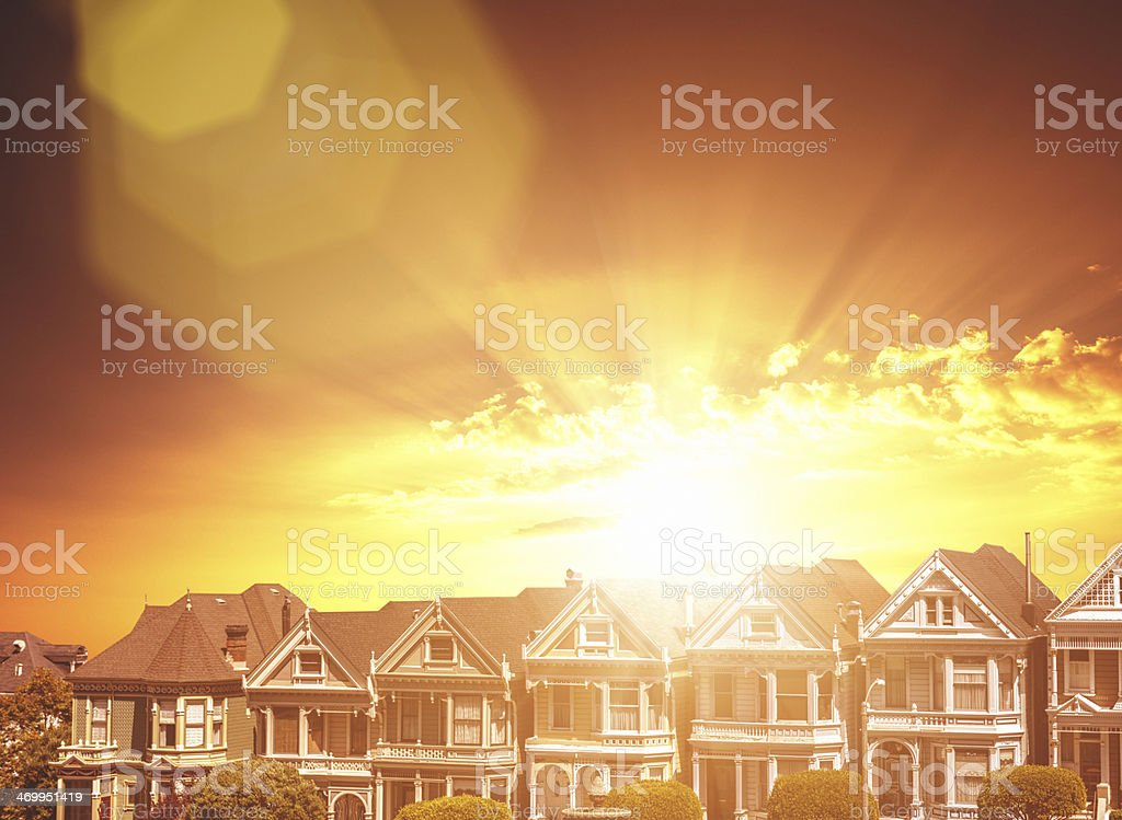 Painted ladies on Alamo Square at dusk royalty-free stock photo