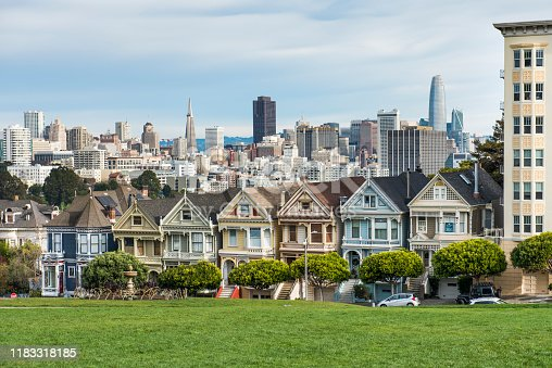 Painted Ladies (houses in San Francisco) in front of the city's skyline, green grass in the foreground