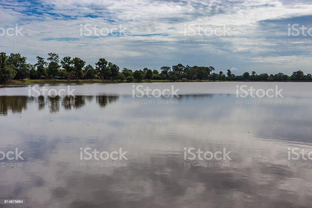 Painted lake stock photo