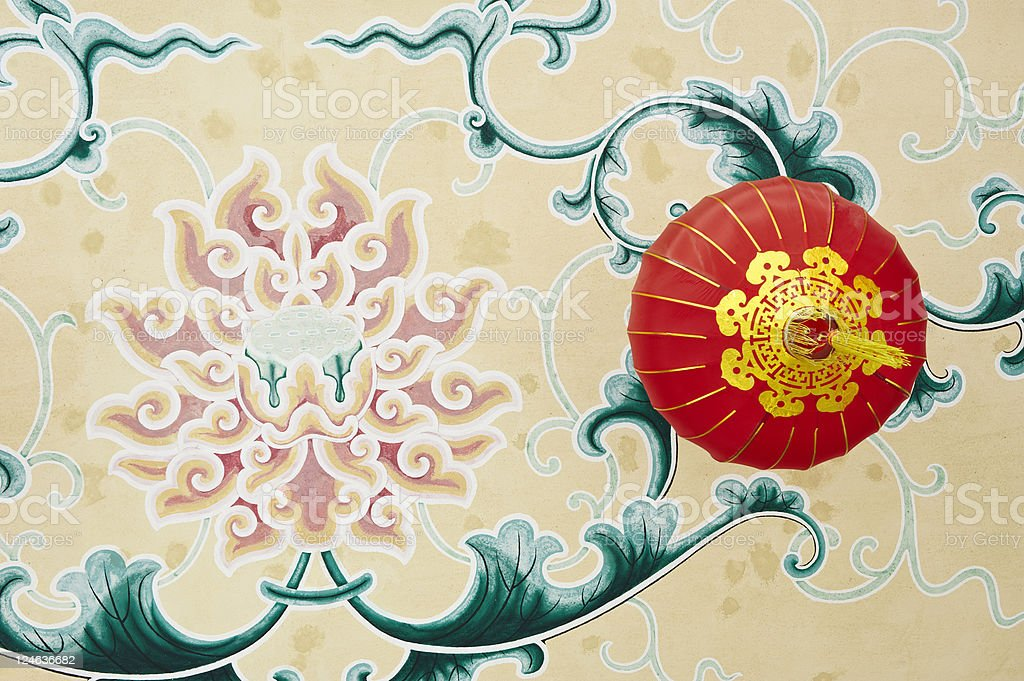 Painted Lotus and Chinese Lantern royalty-free stock photo