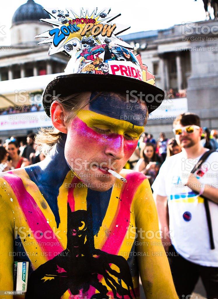 painted Mann auf die gay pride – Foto