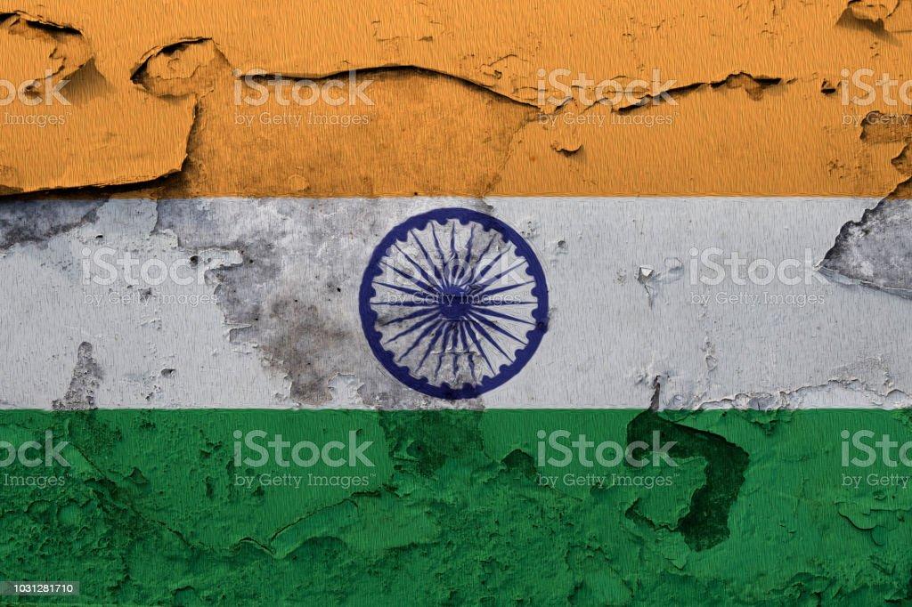 Nationalflagge Von Indien Auf Eine Betonmauer Gemalt Stockfoto Und