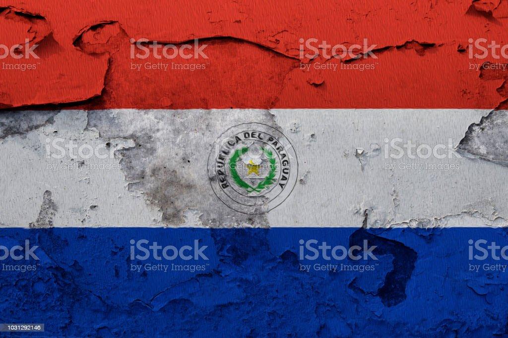 Pintada de la bandera nacional de Paraguay en una pared del grunge - foto de stock