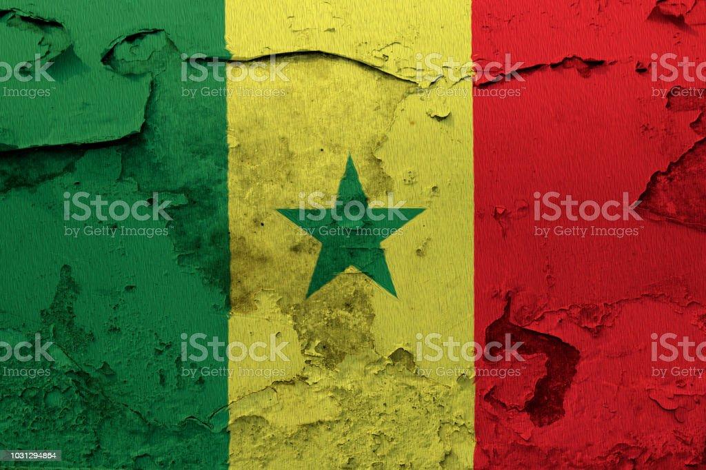 Pintou a bandeira nacional do Senegal em uma parede de grunge - foto de acervo