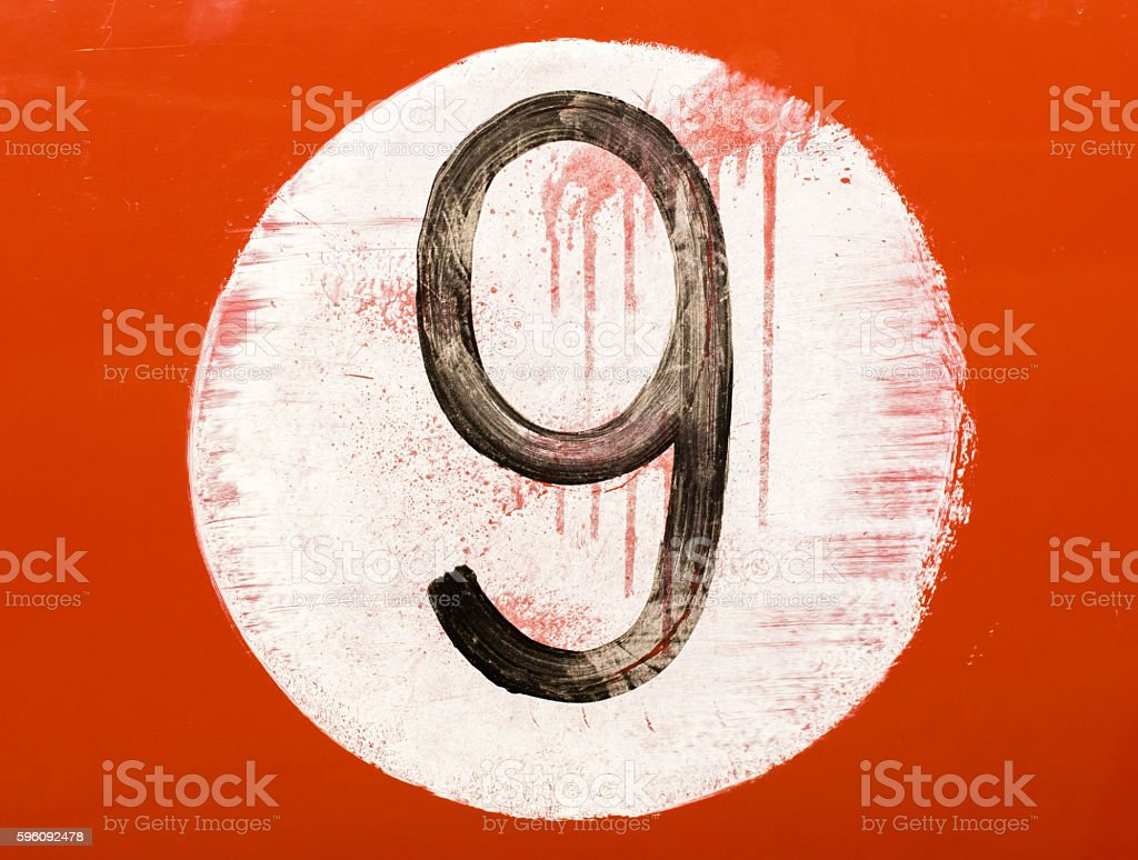 Painted number on an old car royalty-free stock photo