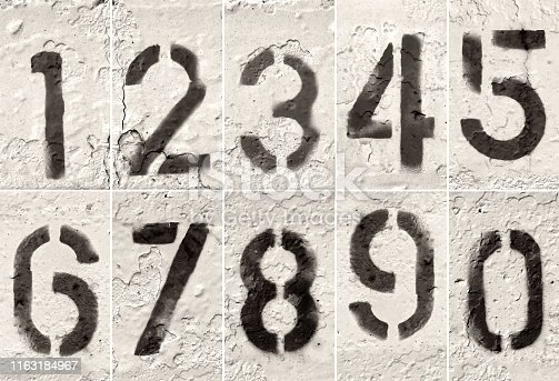 close up grunge style painted numbers from zero to nine as set on textured white surface