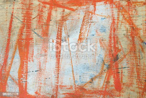 istock Painted orange abstract background on wood board 980952128