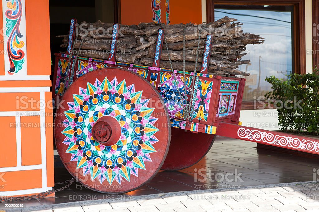 Painted oxcart, Sarchi/Costa Rica stock photo