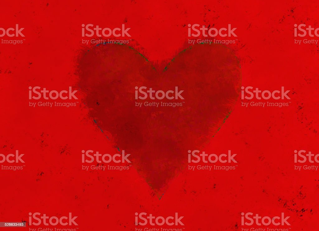 painted paper with red heart. Valentine's day symbol stock photo