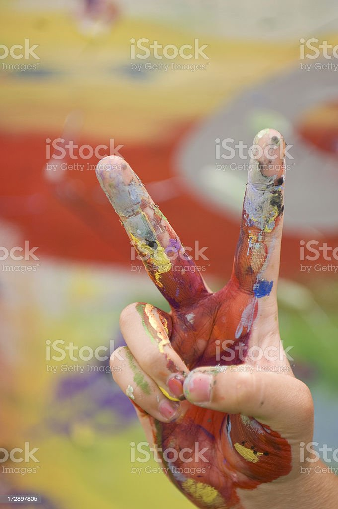 Painted Peace Sign stock photo