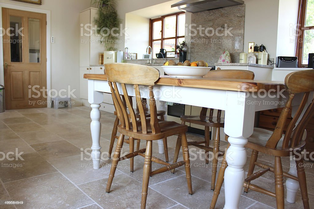 Diner Kitchen Table Painted pine table and chairs kitchen diner travertine tile floor painted pine table and chairs kitchen diner travertine tile floor royalty free stock workwithnaturefo