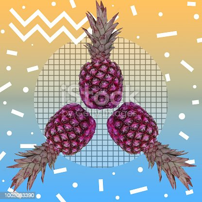964258970 istock photo Painted pineapples in circle of cell 1002083390