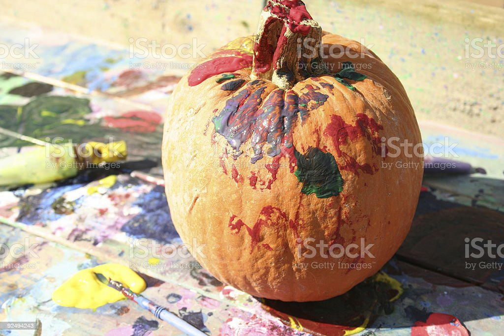 Painted Pumpkin royalty-free stock photo