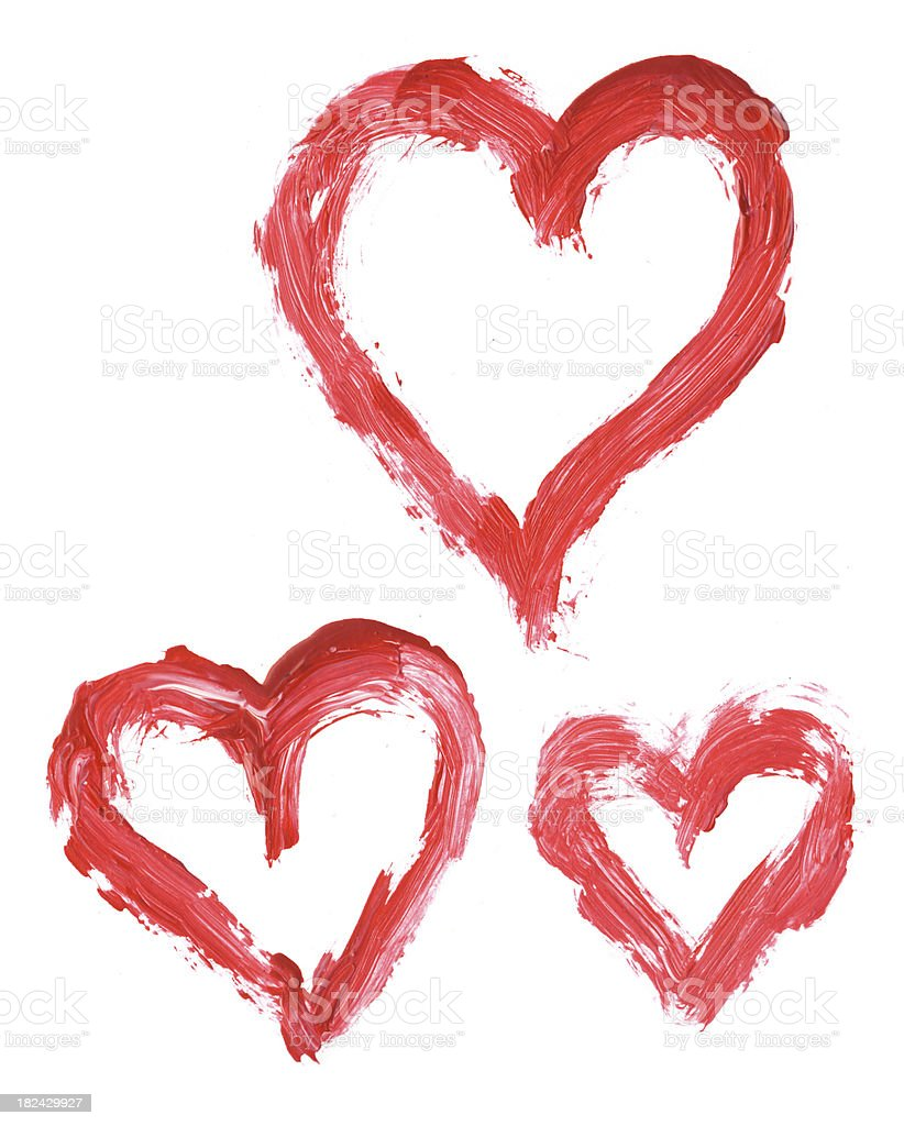 Painted red hearts royalty-free stock photo