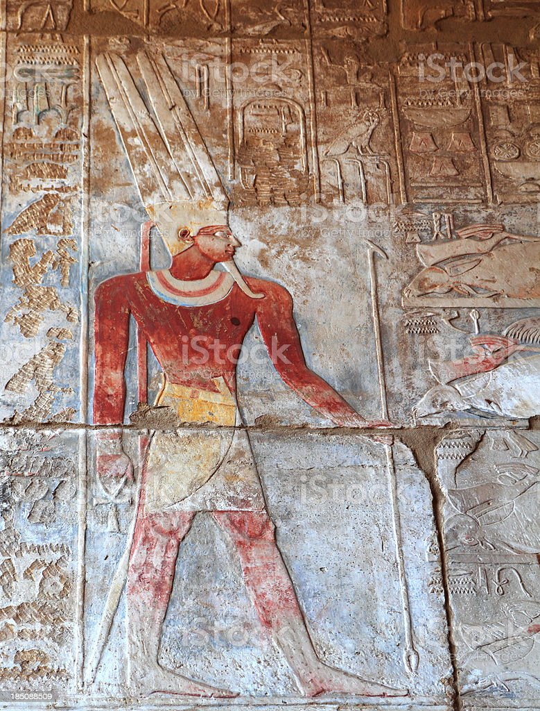 Painted Relief, Great Temple of Amun, Karnak, Egypt stock photo