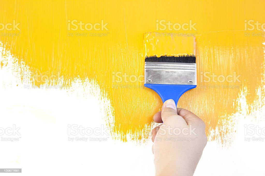 painted shape with brush and hand  / white background / copy space royalty-free stock photo
