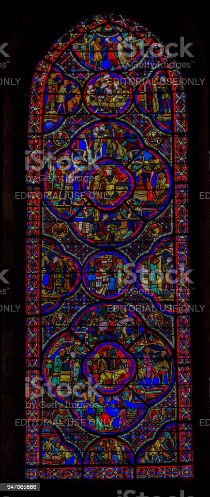Painted Stained Glass Windows St-Etienne Cathedral Bourges France stock photo