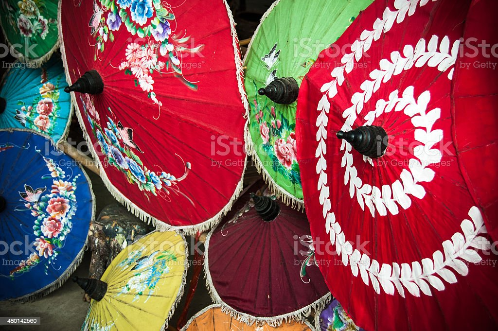 Painted Thai parasols stock photo