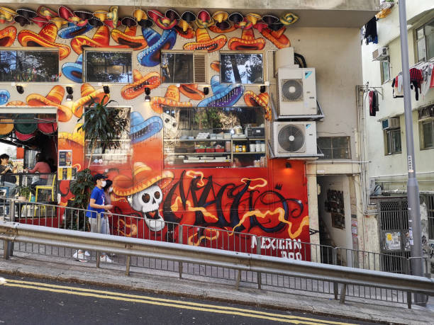 Painted wall in Sai Ying Pun, Hong Kong island stock photo