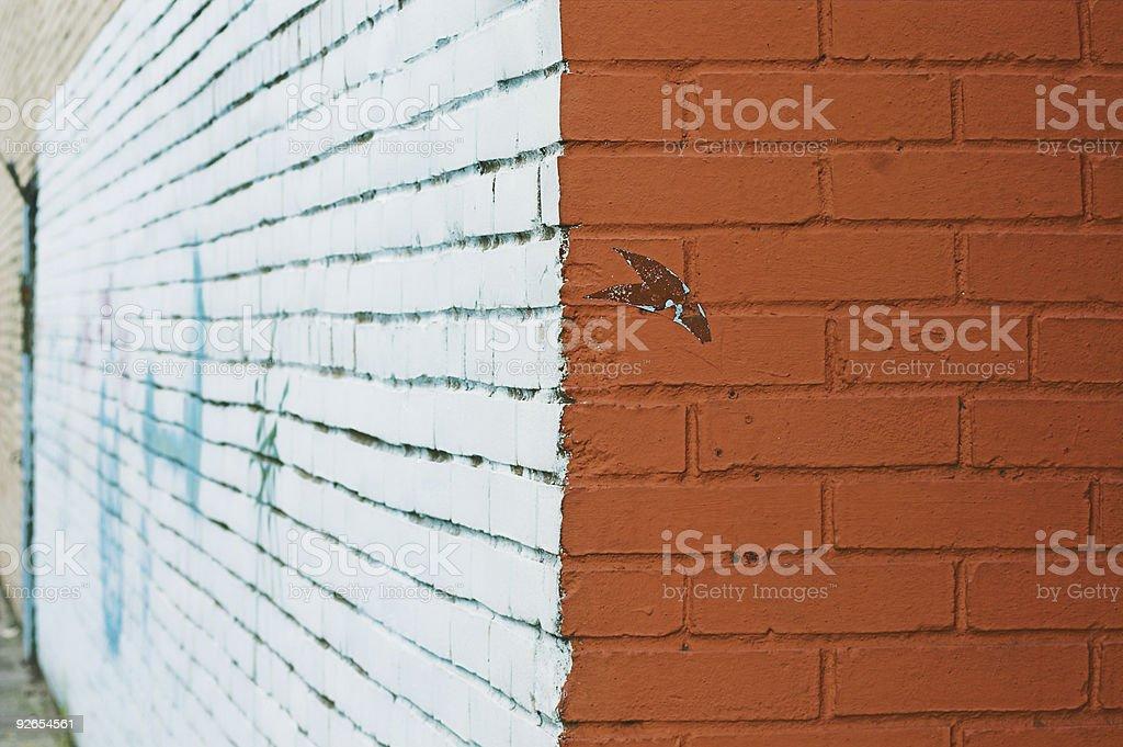 painted wall with graffiti stock photo
