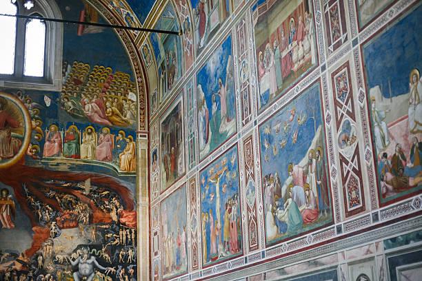 painted walls of scrovegni chapel in padua city - giotto stock-fotos und bilder