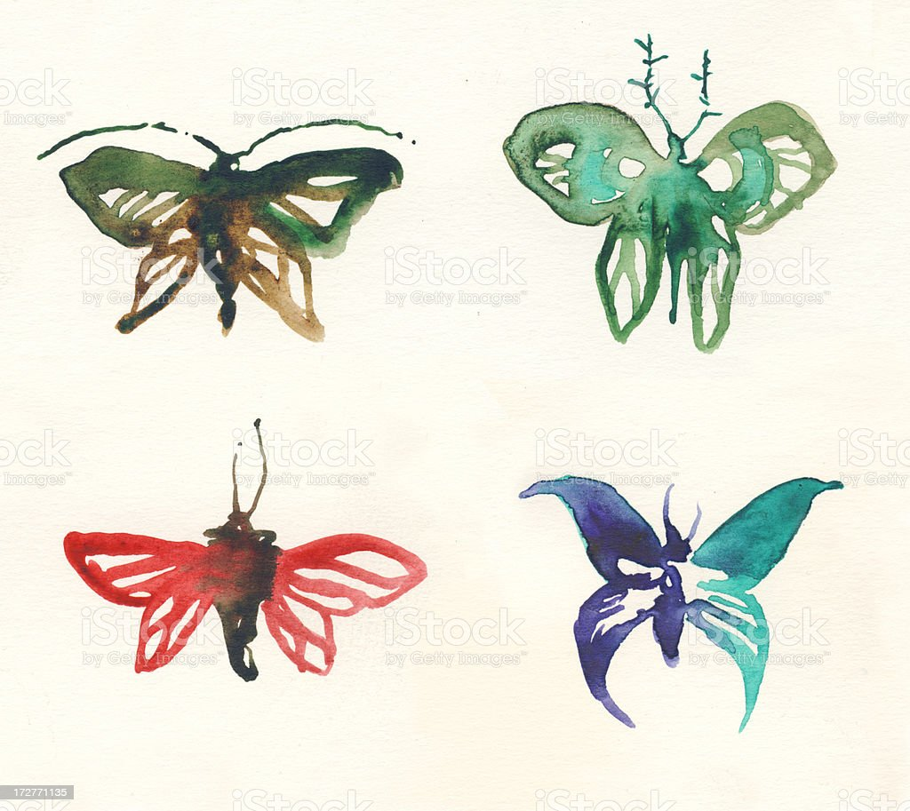 Painted watercolor butterflies stock photo