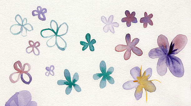 Painted watercolor flowers stock photo