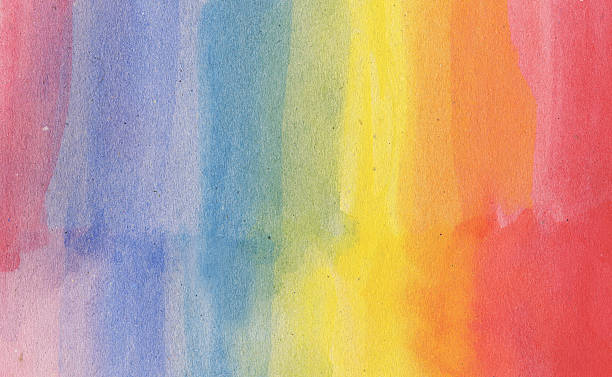 Painted watercolor rainbow stock photo
