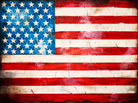 Painted weathered American flag