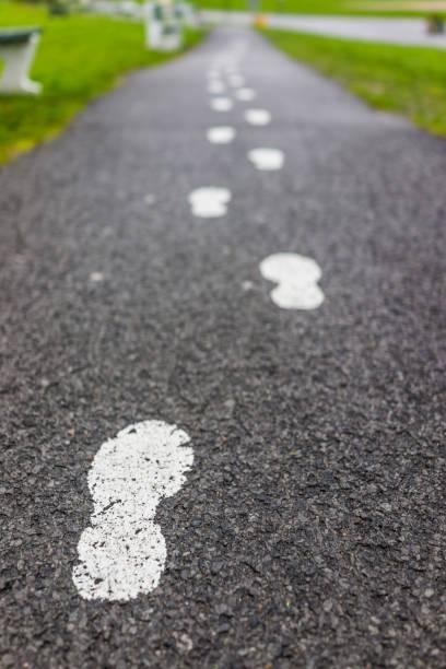 malte weiße spuren auf asphaltierter straße weg als leitfaden - malerei schuhe stock-fotos und bilder