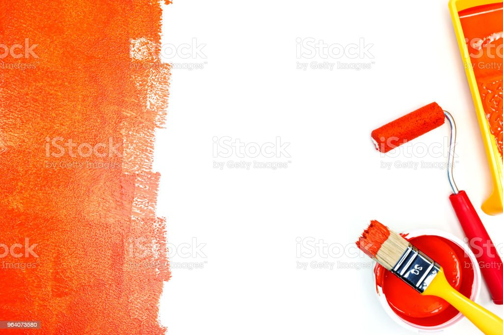 painted white surface with painting tools for house renovation - Royalty-free Apartment Stock Photo