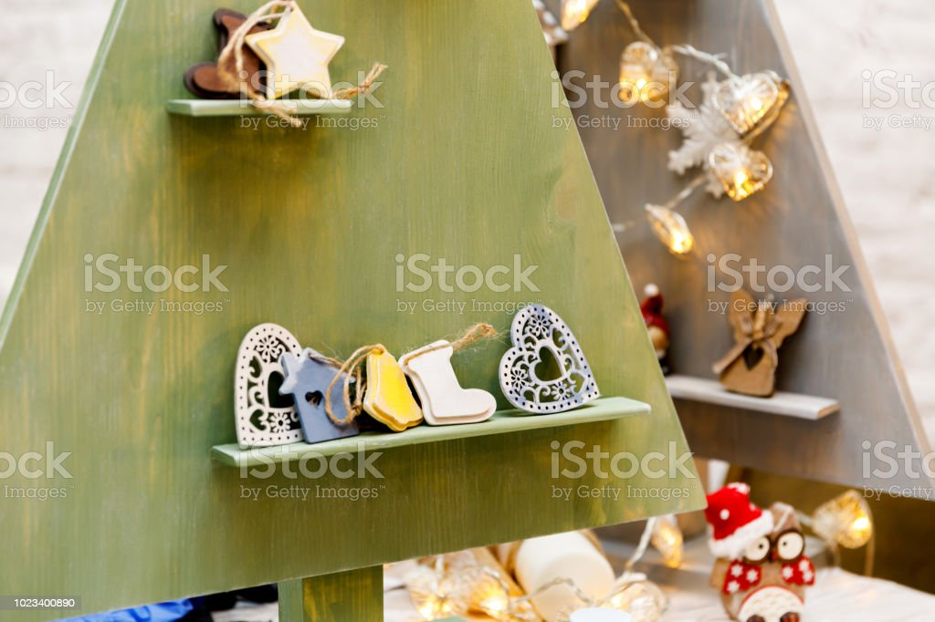 Painted Wooden Christmas Tree Toys In Scandinavian Minimalistic Style Stock Photo Download Image Now Istock