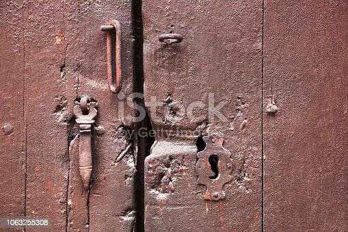 1178501072istockphoto painted wooden door with keyhole 1063255308
