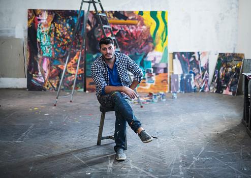 istock Painter Artist portrait in studio. 1184502691