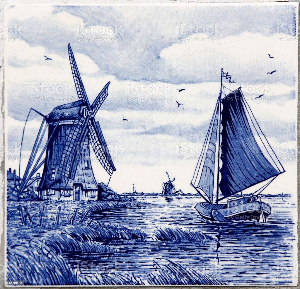 Painter Delfts beautiful blue painting of sailing  stock photo