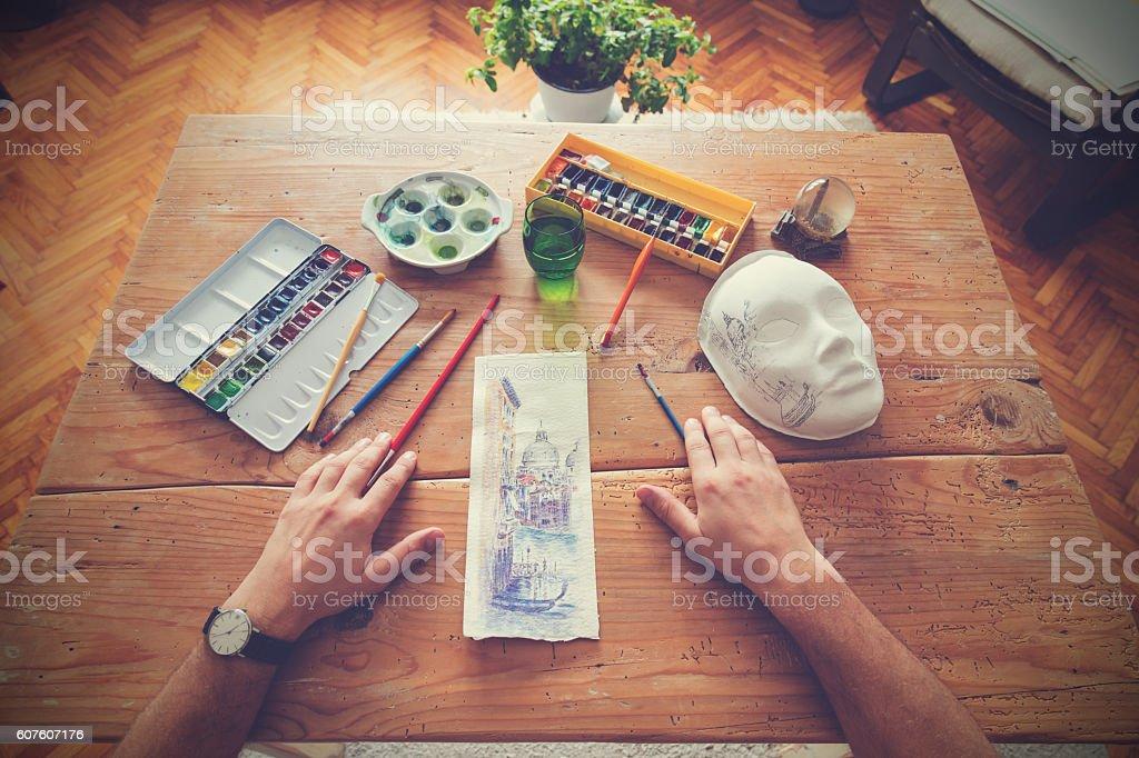 Painter doing his work. ストックフォト