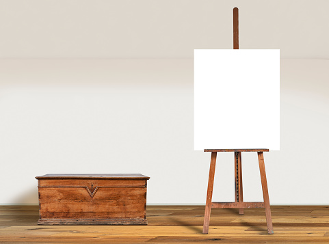istock Painter easel and Blank canvas in Modern  interior 1182882472