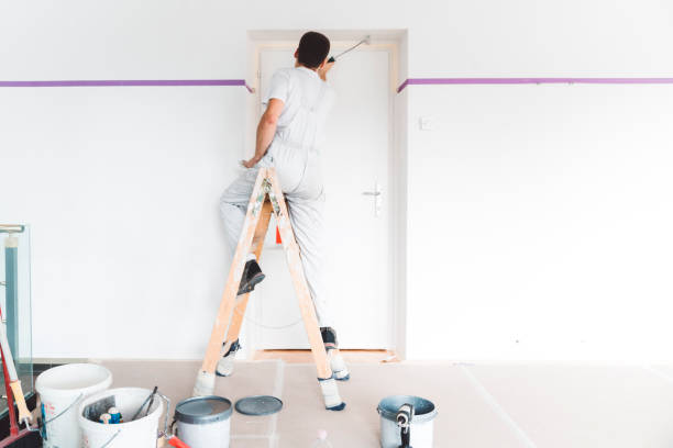Painter in white overalls painting the wall stock photo