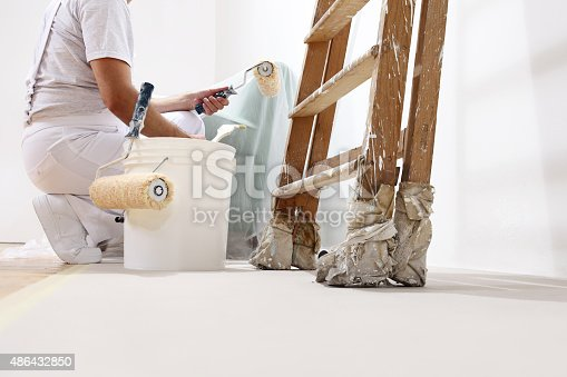 istock painter man at work with a roller, bucket and ladder 486432850