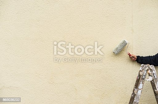 835790922istockphoto Painter on a ladder at work, painting wall 865036202