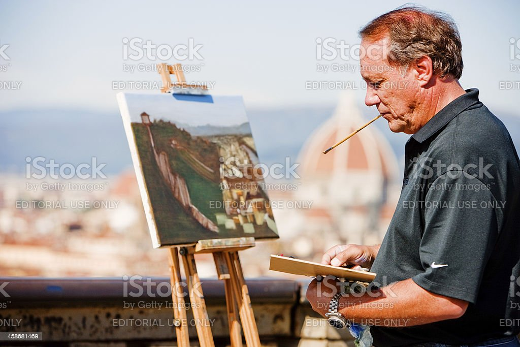 Painter on Piazzale Michelangelo, Firenze, Italy stock photo