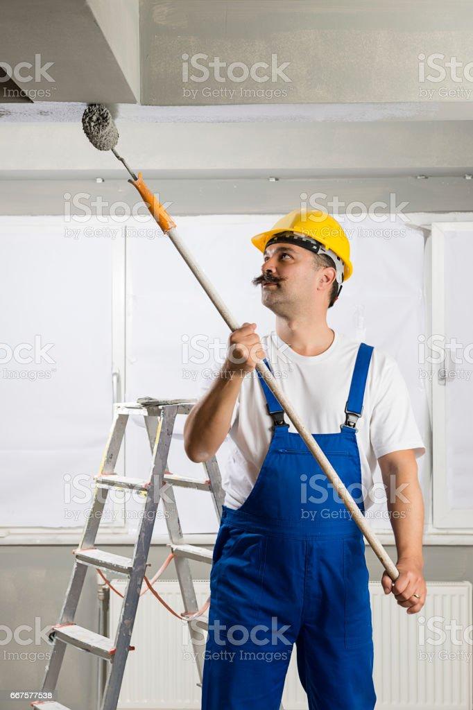 Painter Painting House Interior stock photo