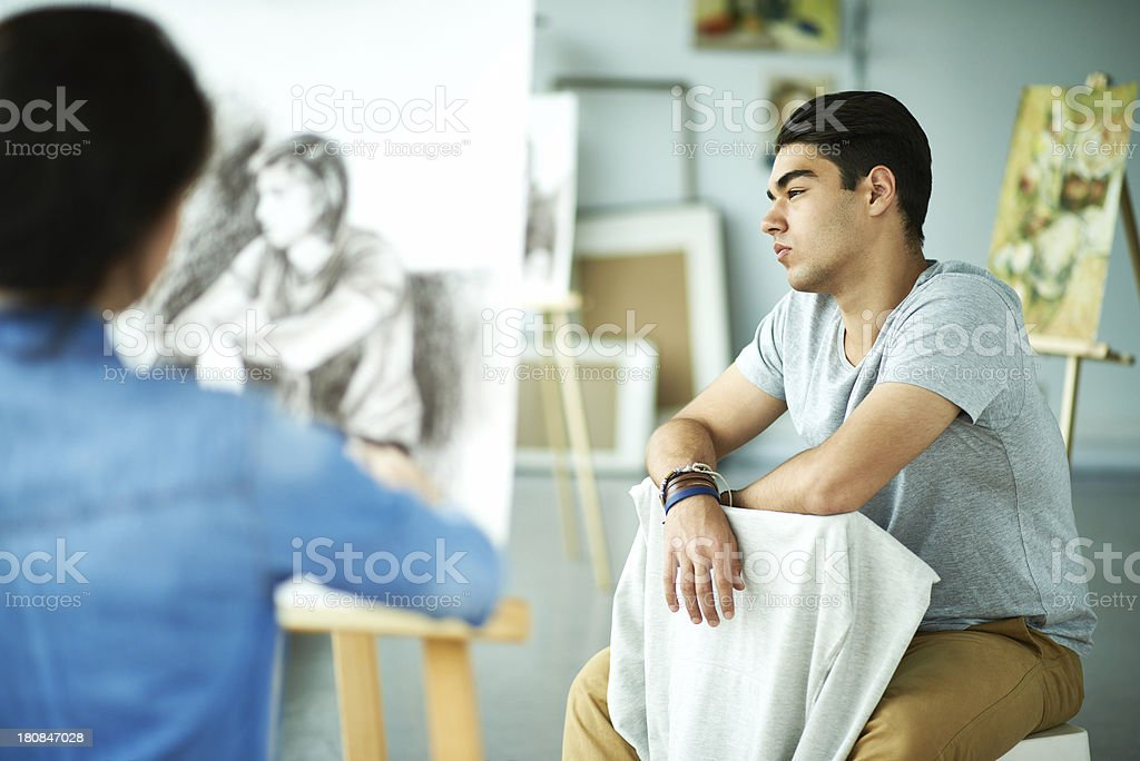 Painter painting model royalty-free stock photo