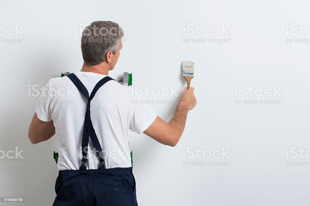 Painter Painting Wall stock photo