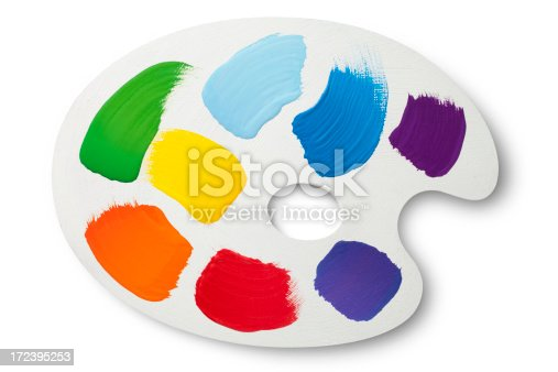 White painter palette with colors. Photo with clipping path.Similar photographs from my portfolio: