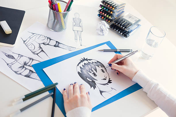 painter - manga style stock photos and pictures